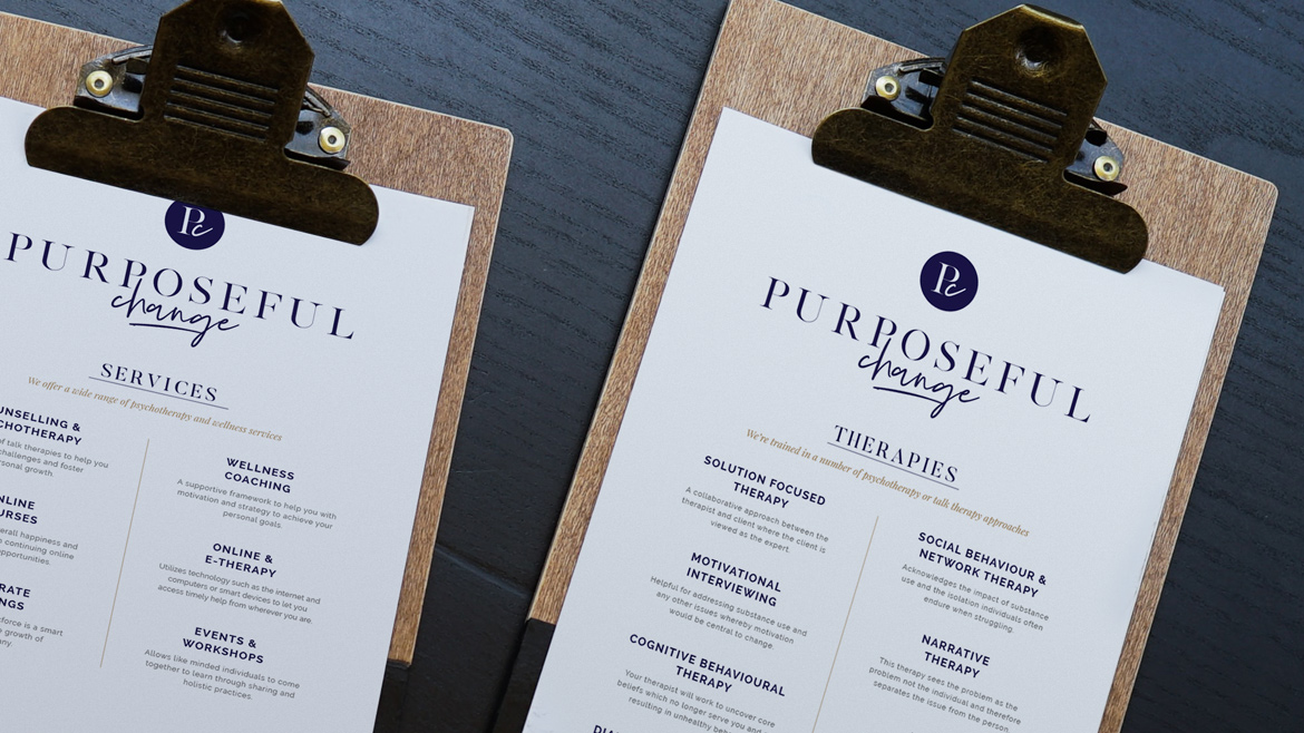 An image of the therapies menu at Purposeful Change